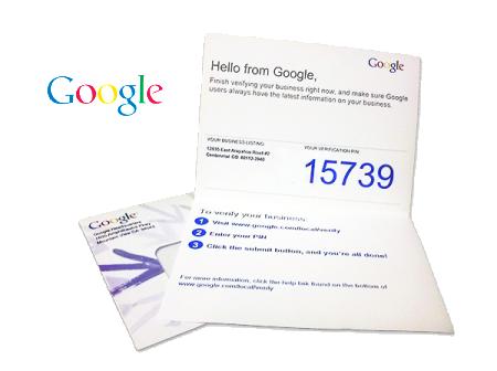 google my business verification postcard