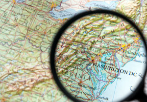 map with magnifier
