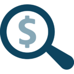 dollar sign inside of magnifying glass