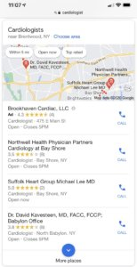 Google Maps Listings for Cardiologists