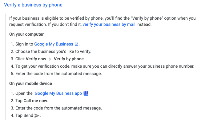 Verify a business by phone