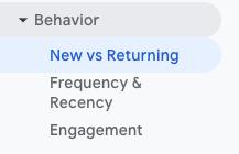Google Analytics New vs Returning