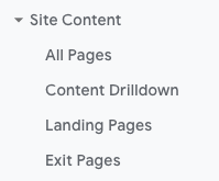 Google Analytics Site Content