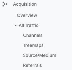 Google Analytics Acquisition Traffic